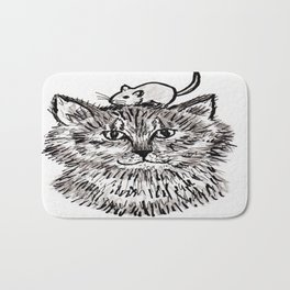 Grey Kitty and a Mouse Bath Mat