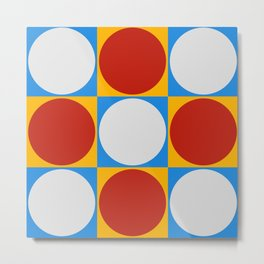 Dots on Checkerboard Metal Print