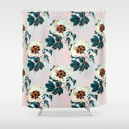 Flowery blooming with geometric Shower Curtain