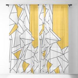 Black and Yellow geometric pattern Sheer Curtain