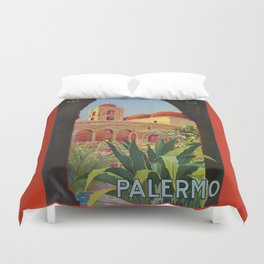 vintage 1920s Palermo Sicily Italian travel ad Duvet Cover