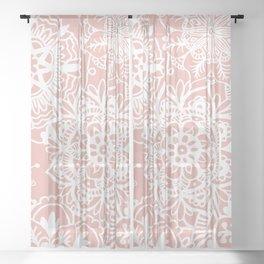 White and Rose Pink Mandala Pattern Sheer Curtain
