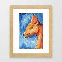 Kitsune (fox) statue. Framed Art Print