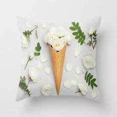 White Roses in Waffle Cone Throw Pillow