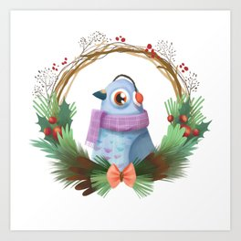 pigeon in a scarf Art Print
