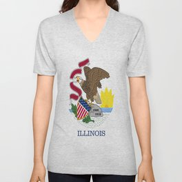 flag illinois,america,usa,midwest,Land of Lincoln,Prairie State,Illinoisan,Chicago,Aurora,Rockford Unisex V-Neck