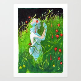 Florence Statue in the Flowers Art Print
