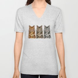 Triple Tabbies Cats Unisex V-Neck