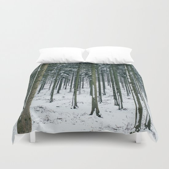 Winter Forest Treescape Duvet Cover