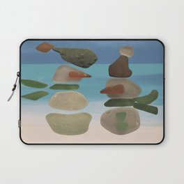 Finding Unexpected Sea Glass at the Beach #snowman #seaglass Laptop Sleeve