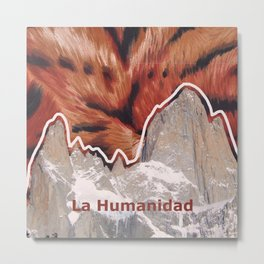 Coexistence - mountains, animals and human beings- patagonia Metal Print