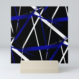 Seamless Royal Blue and White Stripes on A Black Background Mini Art Print