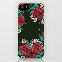 Chrysanthemums - Floral, Flower, Vintage, Design, Illustration by Andrea Lauren iPhone Case