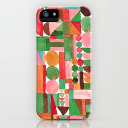 Stacked geometrics in pink and green iPhone Case