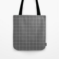 Grey and White Grid Tote Bag