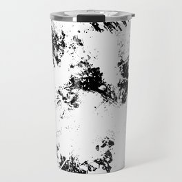 Spilt White Textured Black And White Abstract Painting Travel Mug