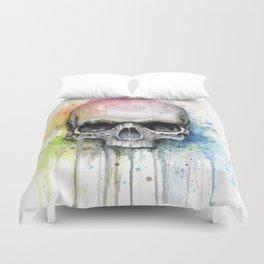 Skull Rainbow Watercolor Duvet Cover