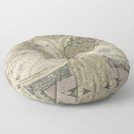 Terrestrial Planisphere Globe Floor Pillow