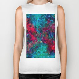 psychedelic geometric triangle abstract pattern in pink red blue Biker Tank