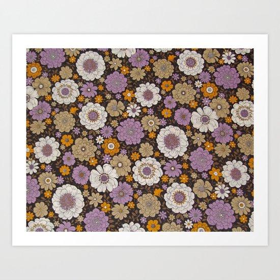 Retro floral sheet purples Art Print