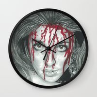 kris tate Wall Clocks featuring Sharon Tate  by Jimmy Lee