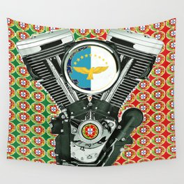 Portuguese Flag Biker Collage Wall Tapestry