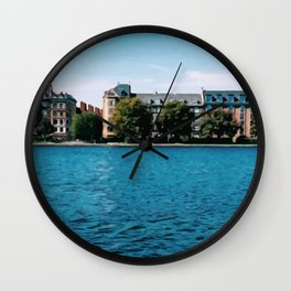 Painting of Danish Buildings along the Copenhagen Lakes, on a Clear and Sunny Summer's Day Wall Clock