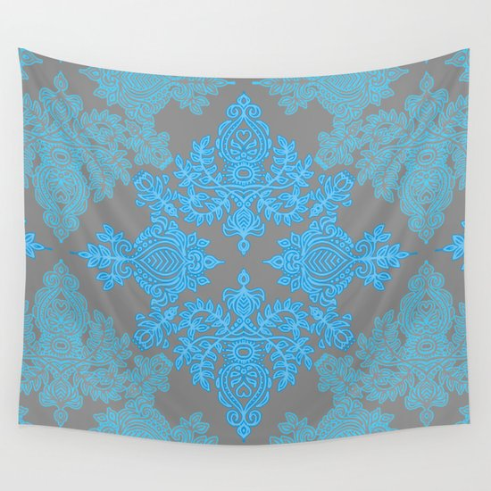 turquoise tangle sky blue aqua grey pattern wall tapestry by micklyn society6. Black Bedroom Furniture Sets. Home Design Ideas