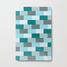 Teal Brick Metal Print