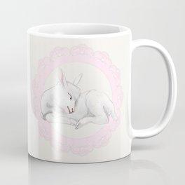 Sleeping Lamb in Pink Lace Wreath Coffee Mug