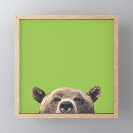 Bear - Green Framed Mini Art Print