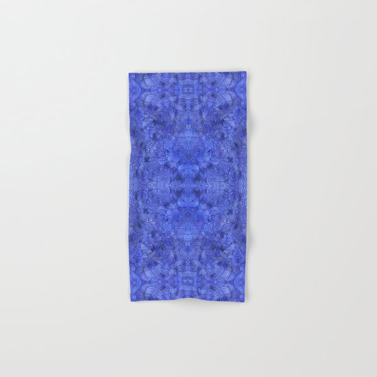 Royal blue swirls doodles Hand & Bath Towel
