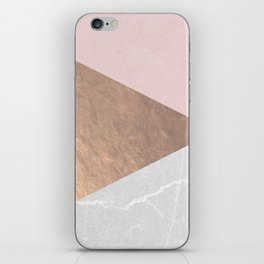 Geo tri - rose gold & concrete iPhone Skin
