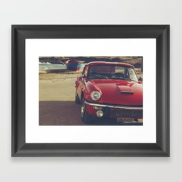 Triumph spitfire, english car by the beach in italy, old car and a boat, for man cave decor Framed Art Print
