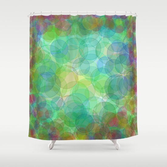 abstract psychedelic bokeh shower curtain by wendy