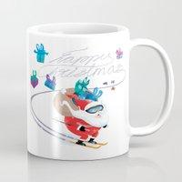 skiing Mugs featuring Santa Skiing 1 by drawgood