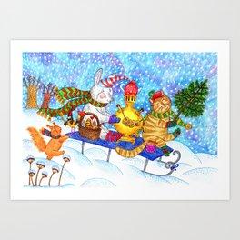 Funny animals celebrate christmas Art Print