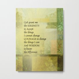 Serenity Prayer Abstract Landscape Green Metal Print