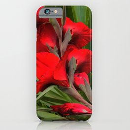 Heirloom Tomato Red Floral With Starburst Leaves iPhone Case