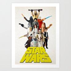 Star War Action Figures Poster - First 12 - Vintage Texture Art Print