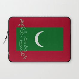 Maldives Flag with Map of the Maldive Islands Laptop Sleeve