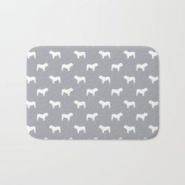 English Bulldog pattern grey and white minimal modern dog art bulldogs silhouette Bath Mat