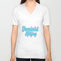 70s V-neck T-shirts featuring Feminist Killjoy 70s design by hellosailortees