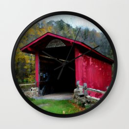KISSING COVERED BRIDGE Wall Clock