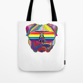 Psychedelic Pug Dog Face with Gay Pride Sunglasses Tote Bag