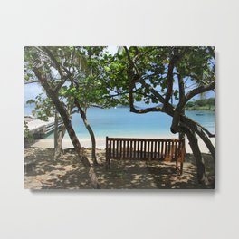 Bench by the Dock Metal Print