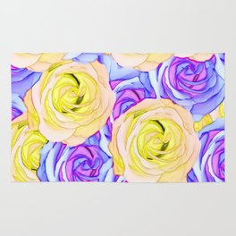 blooming rose texture pattern abstract background in yellow and pink Rug