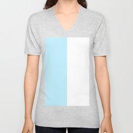 White and Light Blue Vertical Halves Unisex V-Neck