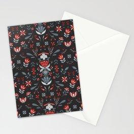 Scandinavian Folk Flower Pattern II Stationery Cards
