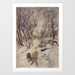 Arthur Rackham - The Wind in the Willows (1940) - Ratty and Mole in the snow Art Print